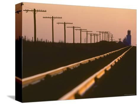 Railway Tracks at Sunset, Kansas-Brimberg & Coulson-Stretched Canvas Print