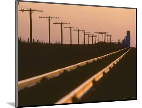 Railway Tracks at Sunset, Kansas-Brimberg & Coulson-Mounted Photographic Print