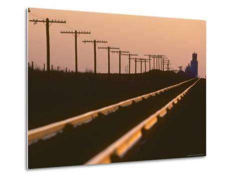 Railway Tracks at Sunset, Kansas-Brimberg & Coulson-Metal Print