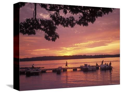 People at the Marina at Sunset in Wellseley Island in New York-Richard Nowitz-Stretched Canvas Print
