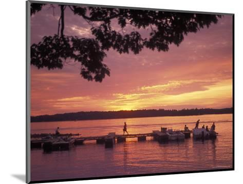 People at the Marina at Sunset in Wellseley Island in New York-Richard Nowitz-Mounted Photographic Print