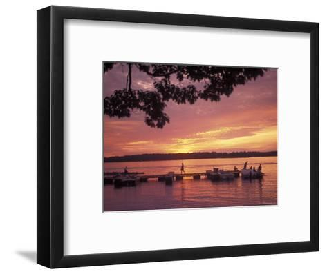 People at the Marina at Sunset in Wellseley Island in New York-Richard Nowitz-Framed Art Print