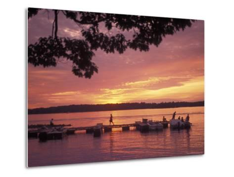People at the Marina at Sunset in Wellseley Island in New York-Richard Nowitz-Metal Print