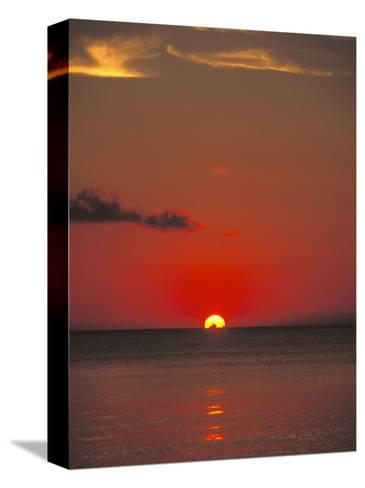 Red Orange Sunset on Horizon of Caribbean Sky-James Forte-Stretched Canvas Print