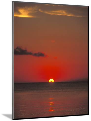 Red Orange Sunset on Horizon of Caribbean Sky-James Forte-Mounted Photographic Print