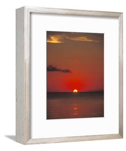 Red Orange Sunset on Horizon of Caribbean Sky-James Forte-Framed Art Print