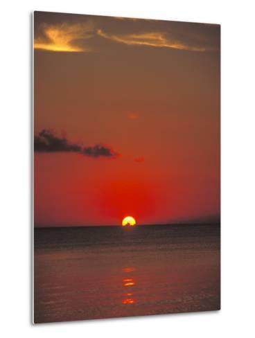 Red Orange Sunset on Horizon of Caribbean Sky-James Forte-Metal Print