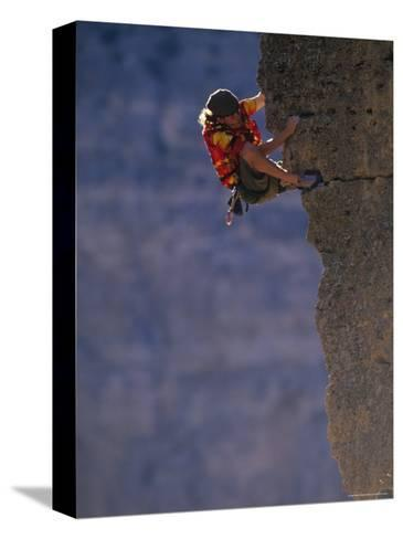 Man Rock Climbing in Wyoming-Bobby Model-Stretched Canvas Print
