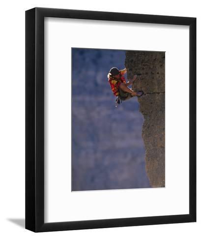 Man Rock Climbing in Wyoming-Bobby Model-Framed Art Print
