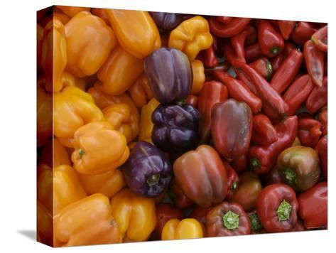 Peppers for Sale at Farmer's Market, Marin, California--Stretched Canvas Print