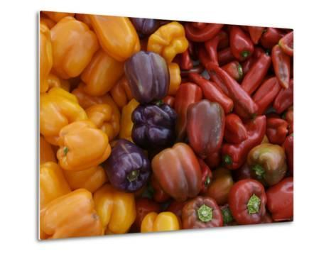 Peppers for Sale at Farmer's Market, Marin, California--Metal Print