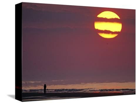 Person Silhouetted on the Beach at Sunrise-Kenneth Garrett-Stretched Canvas Print