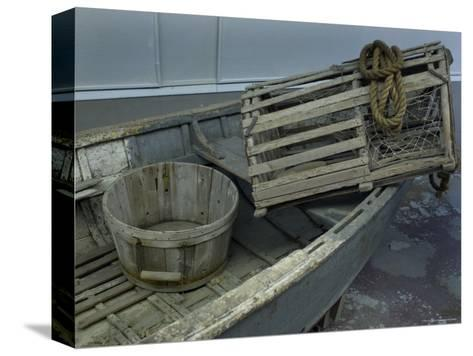 Old Wooden Boat with a Barrel and Lobster Trap, Mystic, Connecticut-Todd Gipstein-Stretched Canvas Print