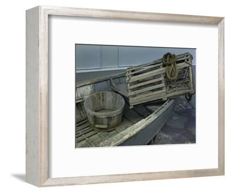 Old Wooden Boat with a Barrel and Lobster Trap, Mystic, Connecticut-Todd Gipstein-Framed Art Print