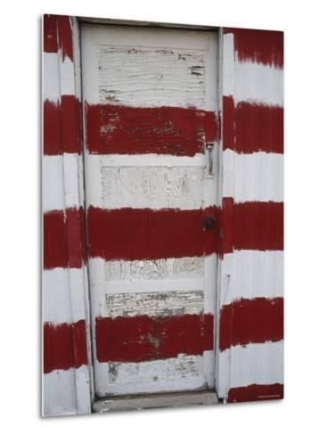 Red and White Painted Door, Arizona-Dawn Kish-Metal Print