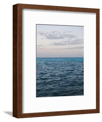 Puffy Clouds on Horizon with Caribbean Turquoise Blue Ocean Foreground, Ambergris Caye, Belize-James Forte-Framed Art Print