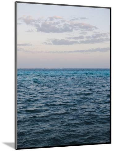 Puffy Clouds on Horizon with Caribbean Turquoise Blue Ocean Foreground, Ambergris Caye, Belize-James Forte-Mounted Photographic Print
