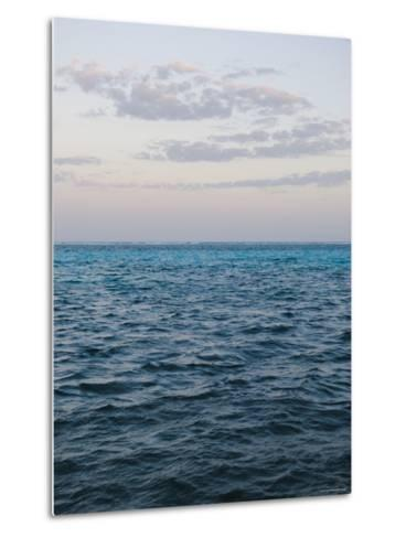 Puffy Clouds on Horizon with Caribbean Turquoise Blue Ocean Foreground, Ambergris Caye, Belize-James Forte-Metal Print