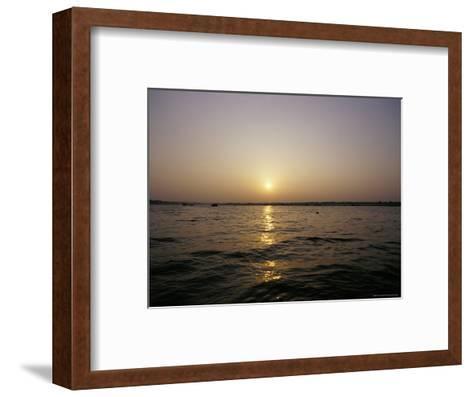 Peaceful Scene of the Holy Ganges River Aka the Ganga River at Dawn-Jason Edwards-Framed Art Print