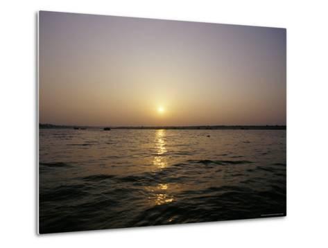 Peaceful Scene of the Holy Ganges River Aka the Ganga River at Dawn-Jason Edwards-Metal Print