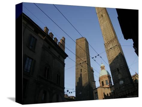 Le du Torri Towers at the Piazza di Porta Ravegnana, Bologna, Italy-Gina Martin-Stretched Canvas Print