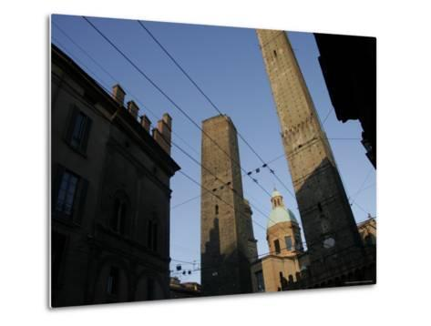 Le du Torri Towers at the Piazza di Porta Ravegnana, Bologna, Italy-Gina Martin-Metal Print
