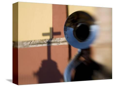 Man Plays a Tuba in the Courtyard of the Basilica of Guanajuato, Mexico-David Evans-Stretched Canvas Print