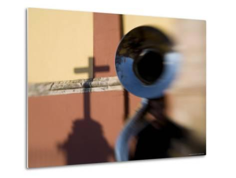 Man Plays a Tuba in the Courtyard of the Basilica of Guanajuato, Mexico-David Evans-Metal Print