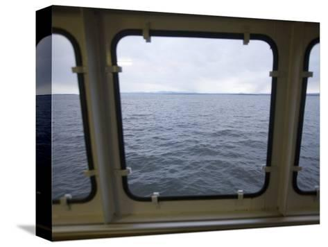 Looking Out a Ferry Boat Window on Lake Champlain-John Burcham-Stretched Canvas Print