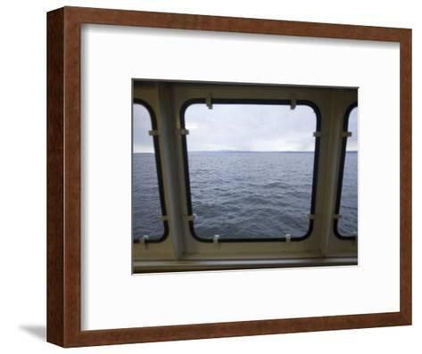 Looking Out a Ferry Boat Window on Lake Champlain-John Burcham-Framed Art Print