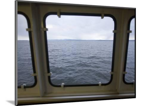 Looking Out a Ferry Boat Window on Lake Champlain-John Burcham-Mounted Photographic Print