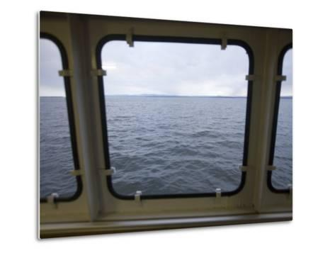 Looking Out a Ferry Boat Window on Lake Champlain-John Burcham-Metal Print