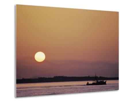 Oyster Boat on the Chesapeake at Sunset-Kenneth Garrett-Metal Print