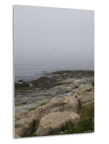 New London Ledge Light in the Dense Fog as Seen from the Shore-Todd Gipstein-Metal Print
