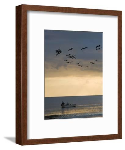 North Carolina Fishermen Cast Nets under Flock of Pelicans at Sunset-David Evans-Framed Art Print
