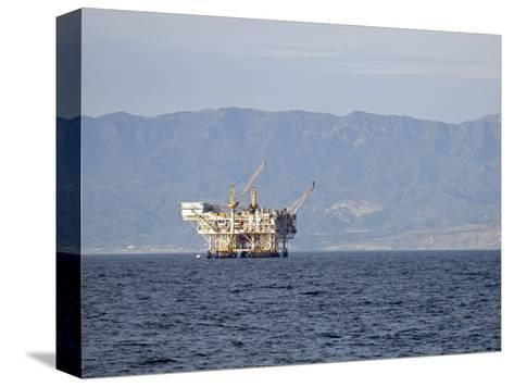 Oil Rig in the Santa Barbara Channel and the Santa Ynez Mountains, California-Rich Reid-Stretched Canvas Print