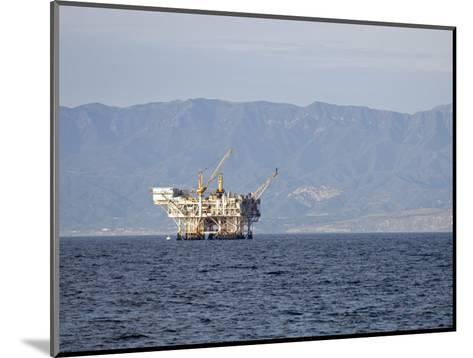 Oil Rig in the Santa Barbara Channel and the Santa Ynez Mountains, California-Rich Reid-Mounted Photographic Print