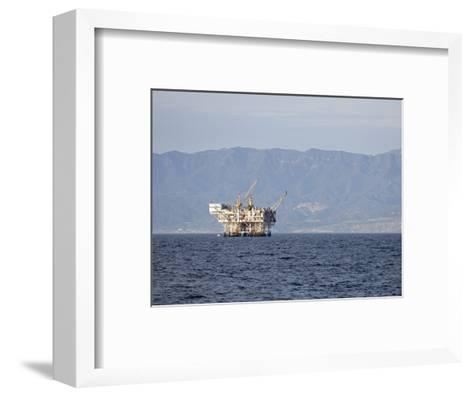 Oil Rig in the Santa Barbara Channel and the Santa Ynez Mountains, California-Rich Reid-Framed Art Print