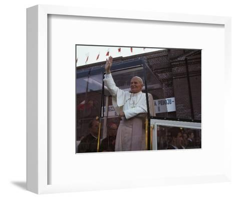Pope John Paul II Waves from his Bulletproof Vehicle, Warsaw, Poland-James L^ Stanfield-Framed Art Print