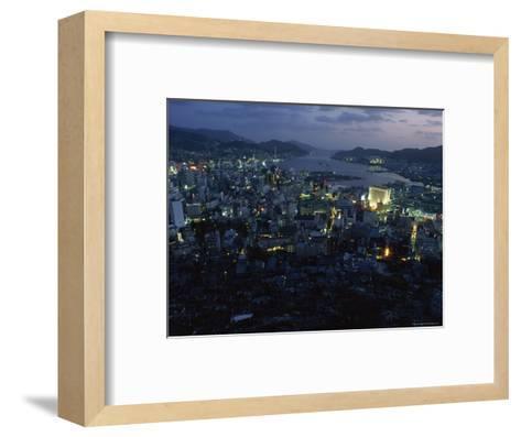 Nagasaki Overlooking its Harbor at Dusk, Japan-James L^ Stanfield-Framed Art Print