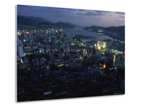 Nagasaki Overlooking its Harbor at Dusk, Japan-James L^ Stanfield-Metal Print