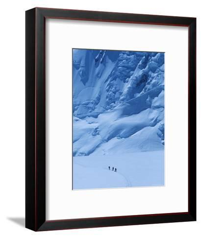 Three People Skiing Up the Kahiltna Glacier on Denali, Alaska-Bill Hatcher-Framed Art Print