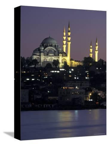 The Suleymaniye Mosque, as Seen from the Galata Bridge, Istanbul, Turkey-Richard Nowitz-Stretched Canvas Print