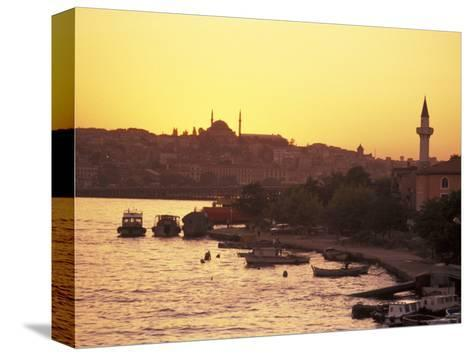 The Golden Horn on the Bosporus from Galata Bridge at Sunset, Istanbul, Turkey-Richard Nowitz-Stretched Canvas Print