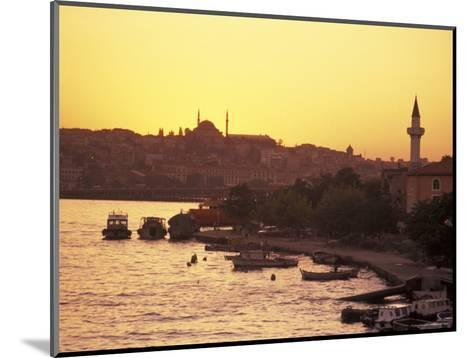 The Golden Horn on the Bosporus from Galata Bridge at Sunset, Istanbul, Turkey-Richard Nowitz-Mounted Photographic Print