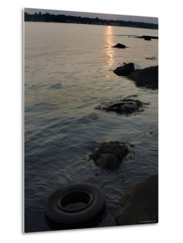 Sunset on the Shore of the Thames River Where a Tire Has Washed Up, Groton, Connecticut-Todd Gipstein-Metal Print