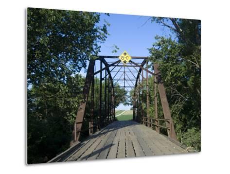 Tall Trees Surround a Wooden Bridge in Eastern Nebraska-Joel Sartore-Metal Print