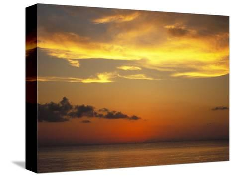 Sunset on Horizon of Caribbean Sky with Clouds-James Forte-Stretched Canvas Print