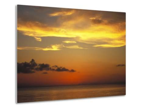 Sunset on Horizon of Caribbean Sky with Clouds-James Forte-Metal Print