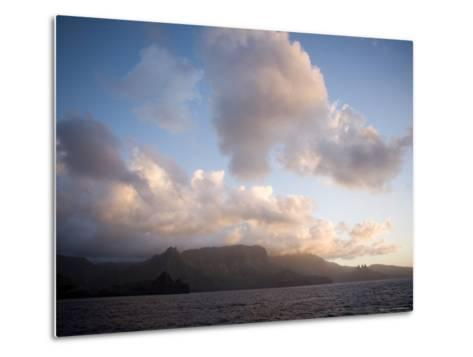 Storm Clouds Rolling in over Anaho Bay, French Polynesia-Tim Laman-Metal Print